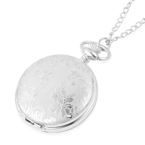 GENOA Automatic Skeleton Water Resistant Flower Pattern Pocket Watch with Chain in Silver Tone