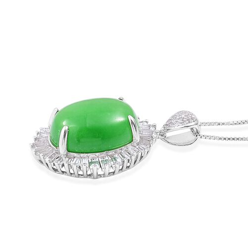Green Jade (Ovl 11.25 Ct), White Topaz BALLERINA Pendant With Chain in Rhodium Plated Sterling Silver 12.760 Ct.