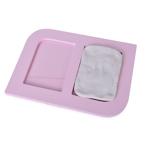 Baby Handprint and Footprint Keepsake Photo Frame Kit in Pink Colour (Size 24.8X17.8X1.2 Cm)