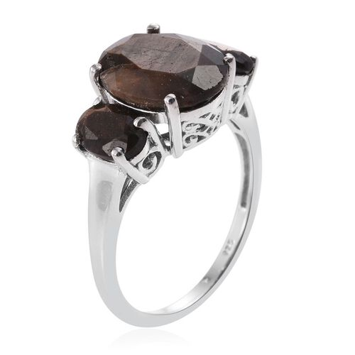 Natural Zawadi Golden Sheen Sapphire (Ovl 5.50 Ct) 3 Stone Ring in Platinum Overlay Sterling Silver 7.500 Ct.