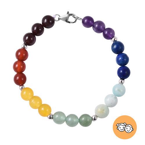 Multi Gemstone (Rnd) 7 Chakra Beads Bracelet (Size 6) with Lobster Lock in Rhodium Overlay Sterling