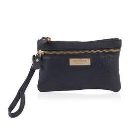 100% Genuine Leather Black Colour Wristlet Pouch (Size 18.49 x 12 Cm)