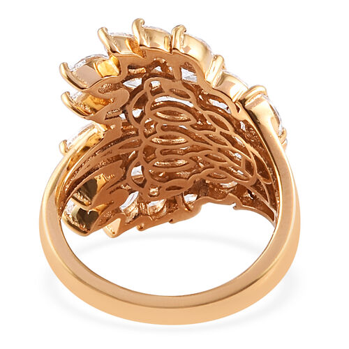 J Francis - 14K Gold Overlay Sterling Silver Cluster Ring Made with SWAROVSKI ZIRCONIA 3.63 Ct.