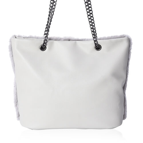 Faux Fur Tote Bag with Front Quilted Pattern Pocket and Zipper Closure (Size 33x27.5x12 Cm) - Grey