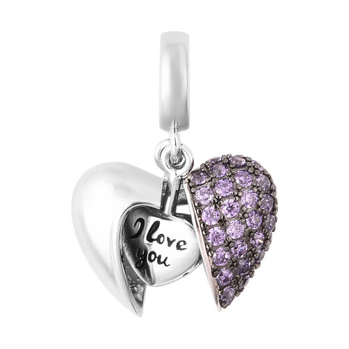 Simulated Amethyst Openable Heart Pendant in Two-Tone Overlay Sterling Silver