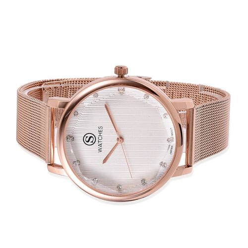 STRADA Japanese Movement White Austrian Crystal Studded Water Resistant Watch in Rose Gold Tone with Mesh Chain Strap