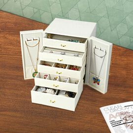 Five-Layer Jewellery Wardrobes  (Size 20x18.3x24cm) w in Cream