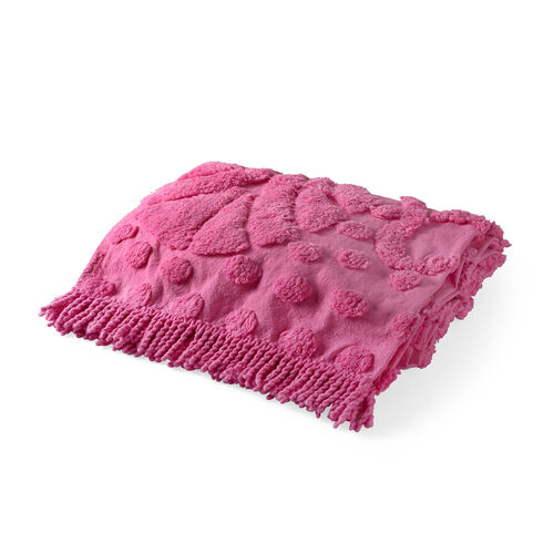 100% Cotton Tufted Summer Holiday Pink Outdoor Rug with Fringes on Both Ends (Size 175x80 Cm)