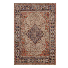 Premium Collection - Persian Style Jacquard Woven Cotton Area Rug with Red Medallion (Size 140x200 c