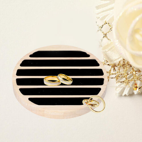 Round Bamboo Ring Tray with 6 Black Velvet Slots (Size 15x1.7cm)