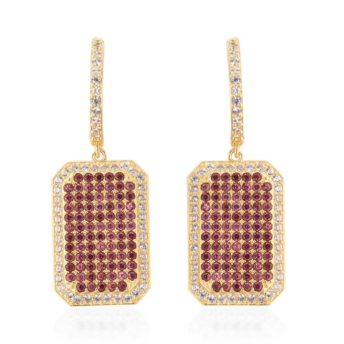Rhodolite Garnet (Rnd), Natural White Cambodian Zircon Drop Earrings (with Clasp) in Rhodium Overlay