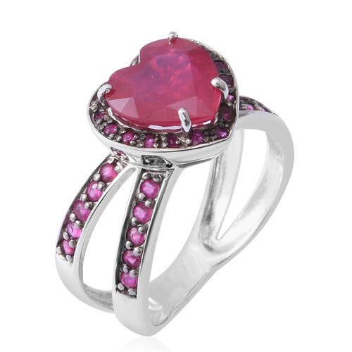 African Ruby (Hrt 4.70 Ct), Burmese Ruby Hug and Kiss Ring in Rhodium and Black Overlay Sterling Silver 5.600 Ct.