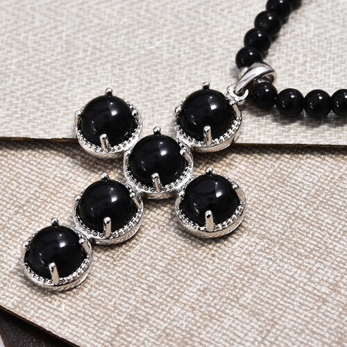Black Onyx and Black Agate Beads Cross Pendant with Beads Chain (Size 20) in Platinum Plated 73.50 Ct