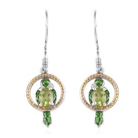 Chinese Peridot (1.50 Ct) Platinum Overlay Sterling Silver Earring  1.000  Ct.