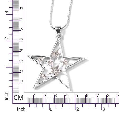 White Austrian Crystal (Rnd) Star Pendant With Chain in Silver Plated