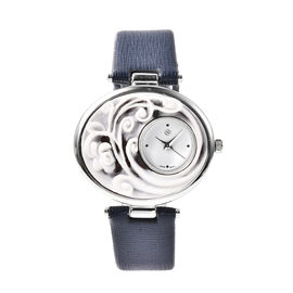 STRADA Japanese Movement Flower Carved Dial Watch with Navy Blue Strap