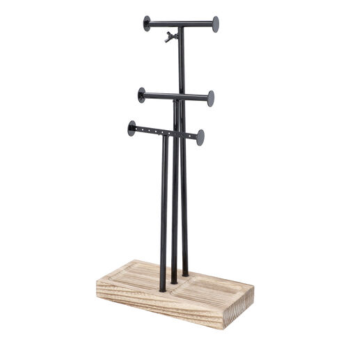 3 Tier Jewellery Stand in Black Colour with Wooden Base