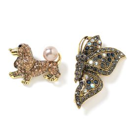 2 Piece Set - Simulated Pearl (Rnd), Multi Colour Austrian Crystal Dog and Butterfly Brooch in Gold Tone