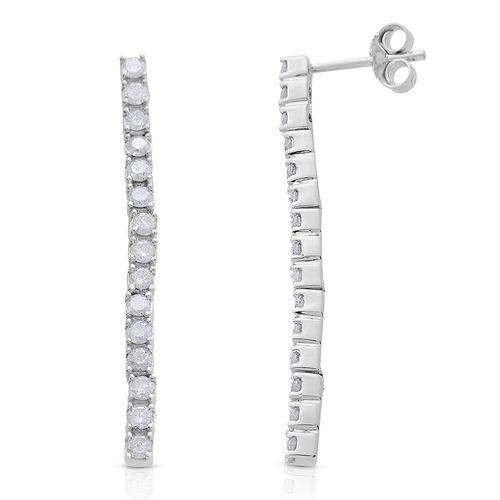 9K White Gold SGL Certified Diamond (Rnd) (I3/G-H) Single Stranded Earrings (with Push Back) 1.000 Ct.