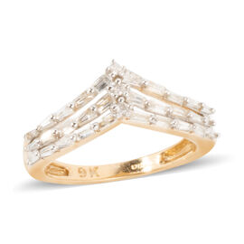 Limited Edition- 9K Yellow Gold SGL Certified Diamond (Bgt) (I3/G-H) Ring 0.500 Ct.