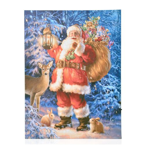 Santa and Reindeer Pattern Wall Art with LED Light (Size 40X30 Cm)
