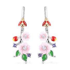 Jardin Collection - Pink Mother of Pearl, Tanzanite and Natural White Cambodian Zircon Floral Earrin