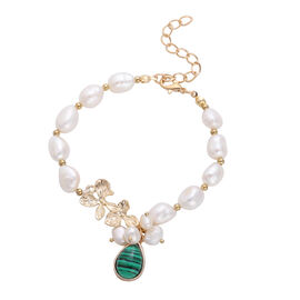 Malachite and White Freshwater Pearl Bracelet (Size 7.5 with 2 inch Extender) in Gold Tone