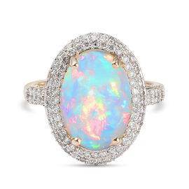 9K Yellow Gold Ethiopian Welo Opal and Diamond Halo Ring 4.37 Ct.
