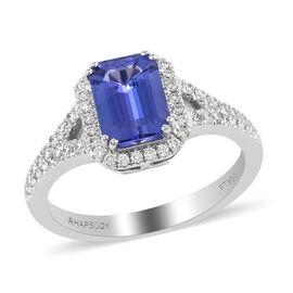 DOD- RHAPSODY 950 Platinum AAAA Tanzanite and Diamond (VS/E-F) Ring 2.10 Ct, Platinum wt 5.70 Gms