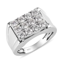 J Francis Made with SWAROVSKI ZIRCONIA Mens Ring in Platinum Plated Sterling Silver