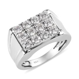 J Francis Made with SWAROVSKI ZIRCONIA Cluster Mens Ring in Platinum Plated Sterling Silver