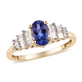1 Carat Tanzanite and Diamond Ballerina Ring in 9K Yellow Gold 1.64 Grams