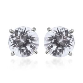 RHAPSODY 950 Platinum 100% Natural AAAA Tanzanian White Zircon(Rnd 7.5 mm) Stud Earrings (with Screw