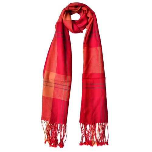 100% Wool Red, Orange and Multi Colour Checks Pattern Scarf with Tassels (Size 180X65 Cm)