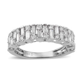 1 Carat Diamond Half Eternity Ring in 14K White Gold 3.20 Grams