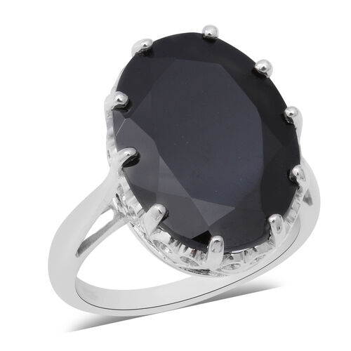 17.93 Ct AAA Boi Ploi Black Spinel Solitaire Ring in Rhodium Plated Silver 5.30 Grams