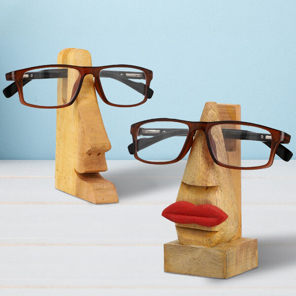 Set of 2- His And Her Wooden Eyeglass Holder