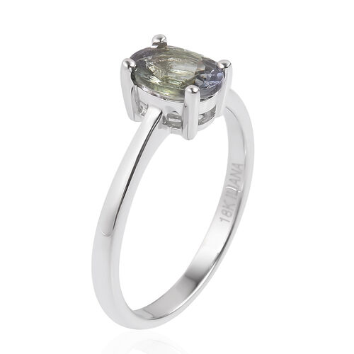 ILIANA 18K White Gold AAA Peacock Tanzanite (Ovl) Solitaire Ring 1.140 Ct.