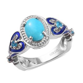 GP Arizona Sleeping Beauty Turquoise, Neon Apatite and Blue Sapphire Enamelled Ring in Platinum Over