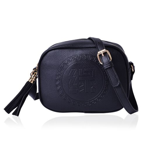 YUAN Collection Black Colour Crossbody Bag with Tassels and Adjustable Shoulder Strap (Size 21x17x9 Cm)