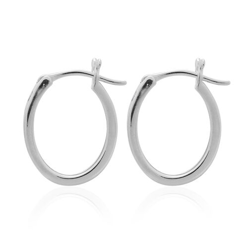Diamond (Bgt) Hoop Earrings (with Clasp Lock) in Platinum Overlay Sterling Silver 0.250 Ct.