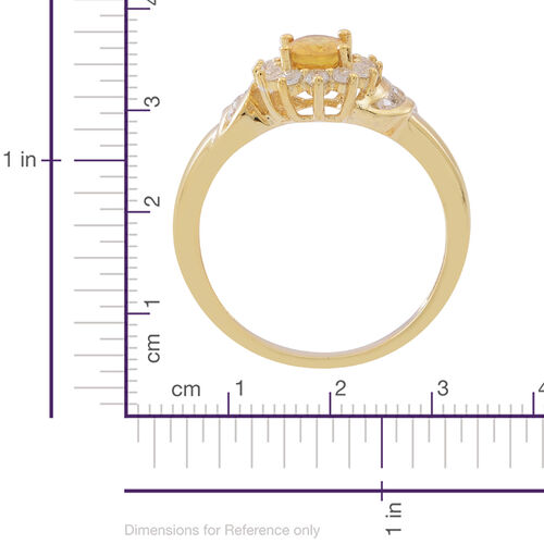Chanthaburi Yellow Sapphire (Ovl 1.15 Ct), Natural White Combodian Zircon Ring in 14K Gold Overlay Sterling Silver 2.000 Ct.