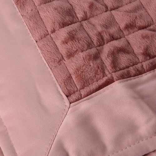 Set of 2- Peach and Strawberry Colour Micro Mink Matt Satin Pillow Cover with Small Check Quilting (Size 70x50 Cm)