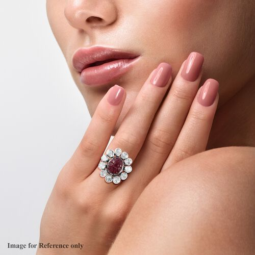 Limited Available- Artisan Crafted African Ruby and Polki Diamond Floral Ring in Sterling Silver 7.50 Ct.
