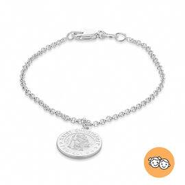 St Christopher Charm Kids Bracelet 4.5 with 1 inch Extender in Sterling Silver