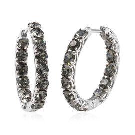 J Francis - Crystal from Swarovski Black Diamond Crystal (Rnd) Hoop Earrings (with Clasp) in Platinu