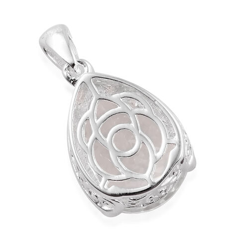Petalite (Pear 14x10 mm) Drop Pendant in Sterling Silver 4.250 Ct.