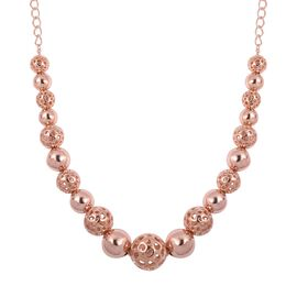 Super Auction- RACHEL GALLEY Rose Gold Overlay Sterling Silver Graduated Globe Necklace with Magnetic Lock (Size 20), Silver wt 44.78 Gms.