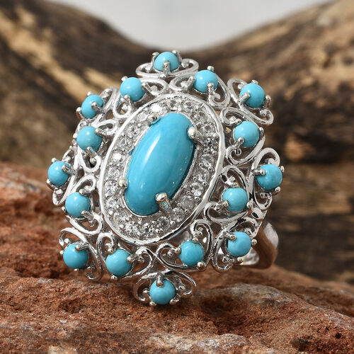 Arizona Sleeping Beauty Turquoise (Ovl and Rnd), Natural Cambodian Zircon Ring in Platinum Overlay Sterling Silver 3.750 Ct. Silver wt 7.00 Gms.