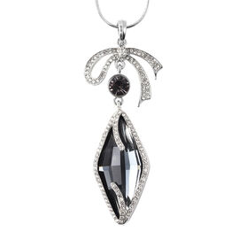 Simulated Grey Spinel, Purple and White Austrian Crystal Pendant with Chain (Size 29 with 3 inch Ext